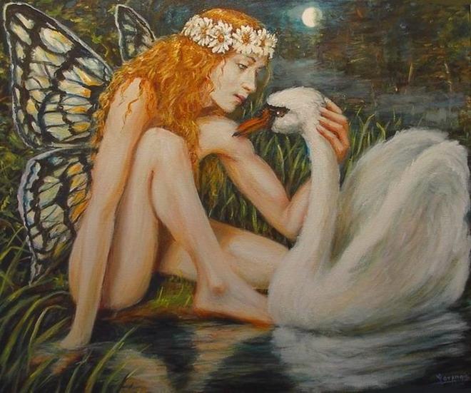 Diana Selene Celeste Ninfa+con+cisne
