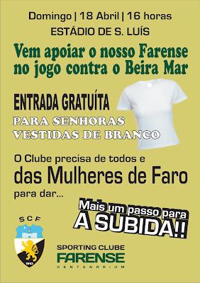 Mulheres não pagam no Farense-Beira Mar