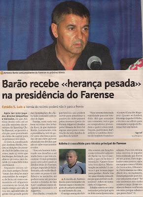 António Barão acredita que a dívida do Farense pode ser inferior ao que se pensava