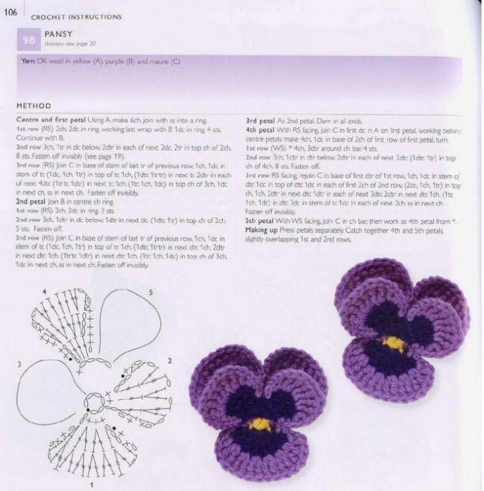 Вязание цветов крючком для начинающих с описанием для