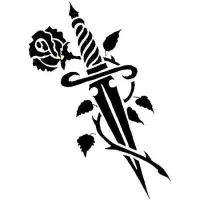 Flower knife tattoo black