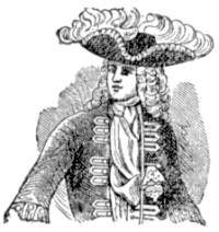Ilustración de caballero con la corbata anudada al estilo Steinkirk