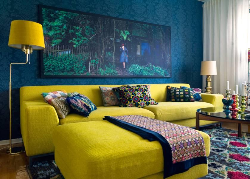 Awesome Wohnzimmer Gelb Blau Gallery - Amazing Design Ideas ... Wohnzimmer Blau Gelb