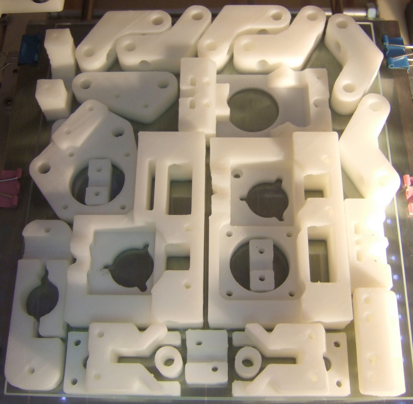Nophead's plate of Huxley RepRap parts