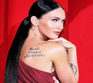 Tag : Megan fox tattoo, megan fox back tattoo, celebrity tattoo,