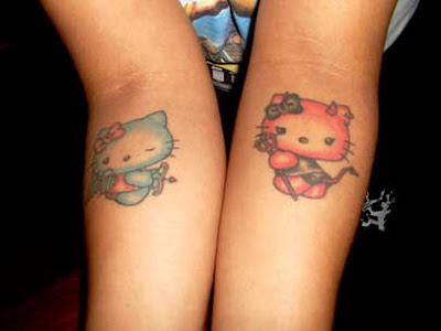 image of Hello kitty angel wing tattoo