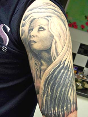 dark angel tattoos are inked on different body-parts,