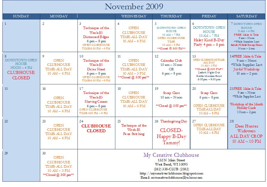 November Calendar Creative November Calendar