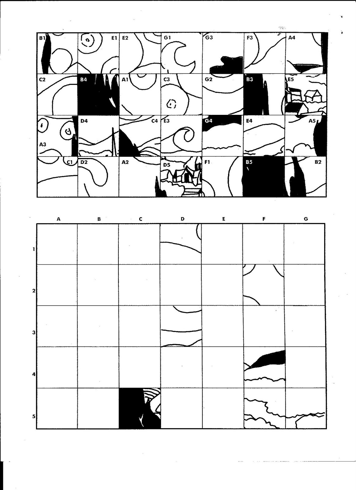 Free grid coloring worksheets - Mystery