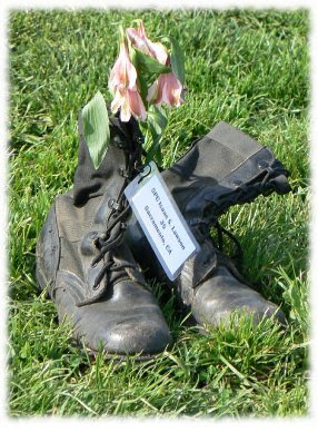 Fallen Soldiers of the Iraq War represented by their boots and name tag