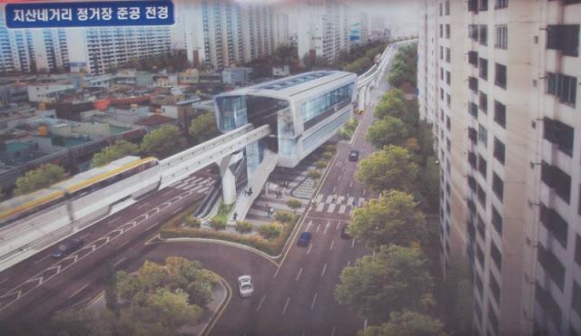 Representación artística de una estación de la línea 3 del metro de Daegu