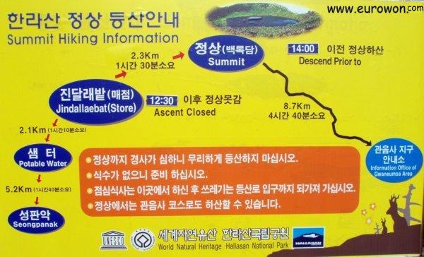 Ruta del ascensión al Hallasan indicando las horas límite