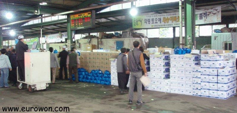 Subasta de cajas de fruta en un mercado de Daegu en Corea