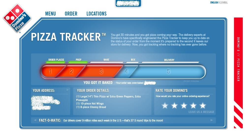dominos pizza tracker Track your order to the front door with domino's tracker by staying bestellungen bei domino's pizza in siehe wwwdominosat oder.