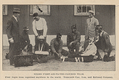 [photo of first black team organized for first aid at Tennessee Coal, Iron and Railroad Company