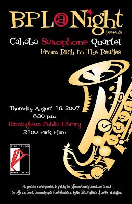 Cahaba Saxophone Quartet Flyer