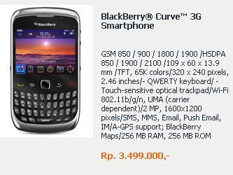 blackberry curve 3g 9300 sudah ada harganya dan lebih mahal sejutaan