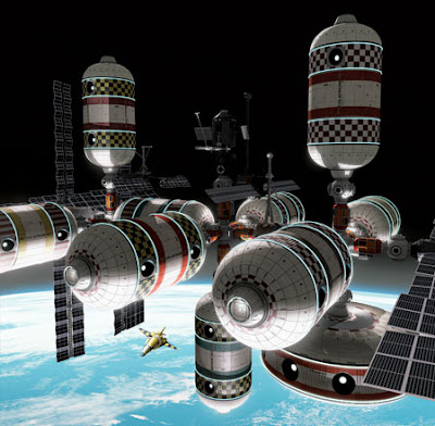Imagen artística de la hipotética estación espacial CSS Skywalker