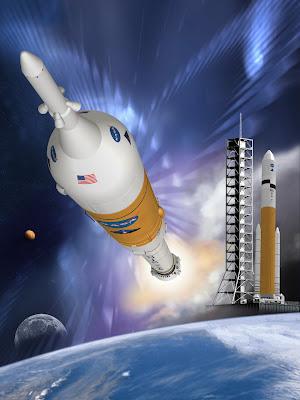 Representación artística de los lanzadores Ares I y Ares V (NASA,MSFC)