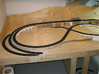 Completed railbed on left half of layout