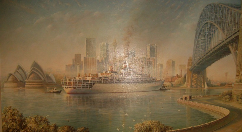 Paiting showing the SS ORIANA of 1960 in Sydney harbour