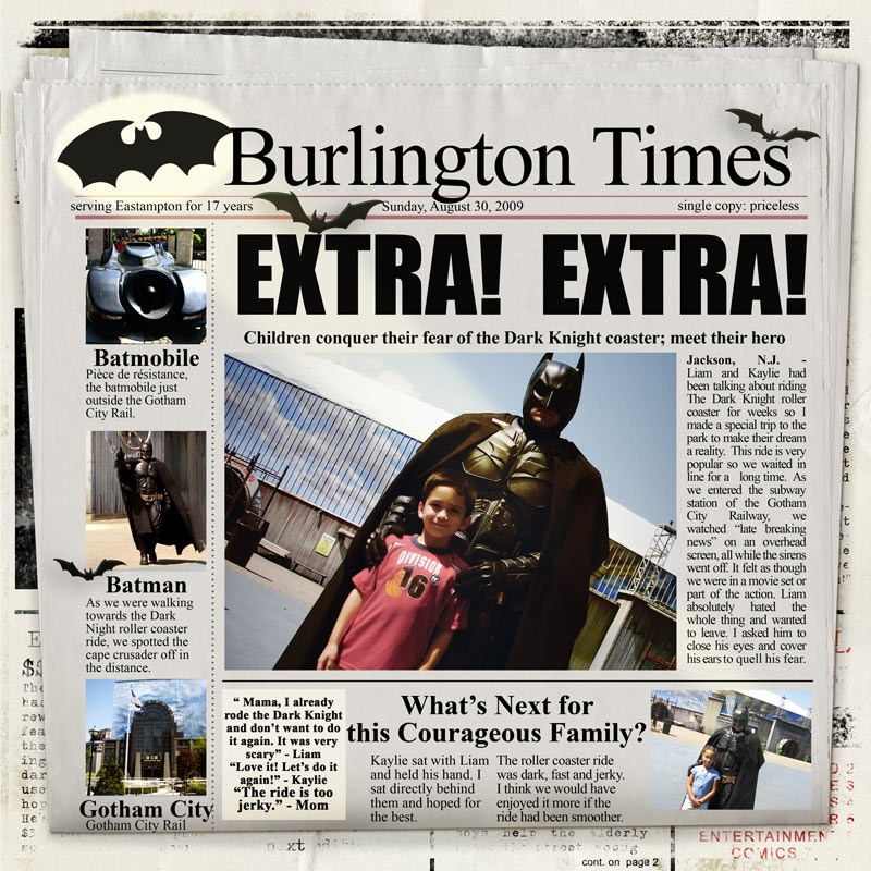 Simply Kait Lmks Place Batman Dark Knight Newspaper Article