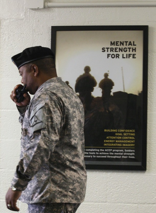 [United+States+soldier+walks+past+an+Army+poster+advertising+Mental+Strength+For+Life+at+the+Resiliency+Center+on+Fort+Hood+Army+post+in+Texas+November+9,+2009.jpg]