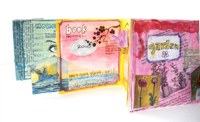 mixed media collage hand made accordion book by artist and workshop leader Bronwyn Simons