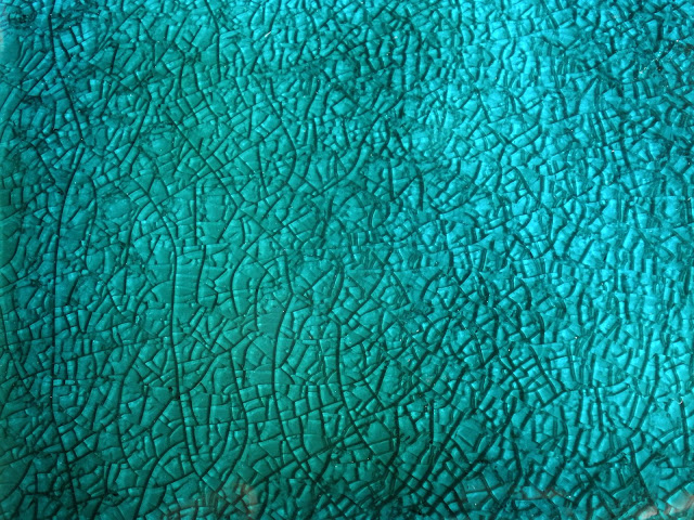 Turquoise Crackle Glaze on Simple Hand Made Tile