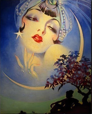 beautiful woman and the new moon