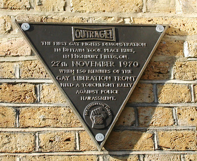 Plaque reading: The first gay rights demonstration took place here, in Highbury Fields, on 27th November 1970 when 150 members of the Gay Liberation Front held a torchlight rally against police harassment.