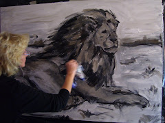 "Artist Denise Justice Painting ""African Lion"""