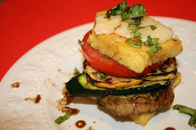... Vegetable and Mozzarella Polenta Stacks with Honey-Balsamic Dressing