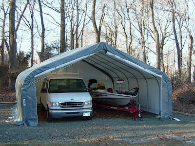 Portable garage shelter king instant garages storage buildings party tents two car peak - Portable car garages for sale ...