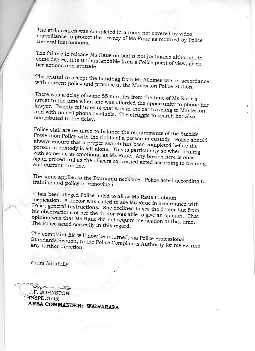 Transparency in new zealand kiwikileaks police complaints the letter of complaint from michael appleby to the police complaints authority following the decision of judge behrens qc elicited this inadequate spiritdancerdesigns Choice Image