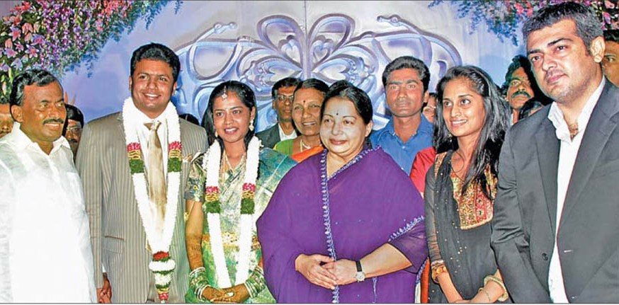 Ajith And Shalini In ADMK Marriage Function Photo