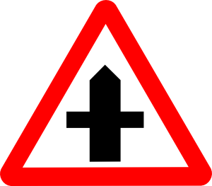 At a crossroads sign