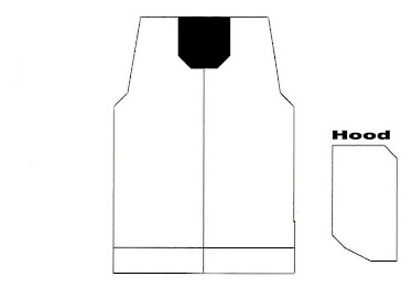 Template for Hooded Ring Jacket ( no sleeves ) - FRONT