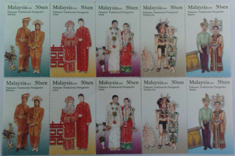 MALAYSIA, Traditional Wedding Costume, 50 sen x 5, 2009