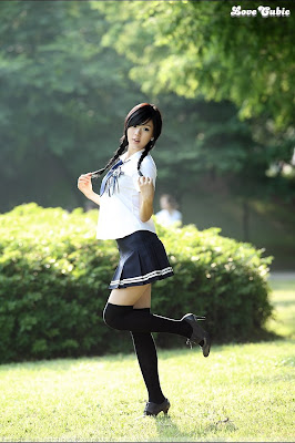 Hwang Mi Hee Cute School Girl Uniform With Glasses