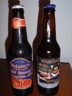 Wolaver's Will Stevens' Organic Pumpkin Ale & Weyerbacher Imperial Pumpkin Ale