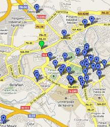 Mapa de localización de picoantenas en Pamplona