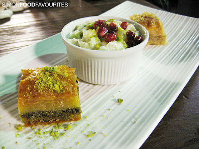 ... Milky gullach, rose water, pomegranate, Traditional pistachio baklava
