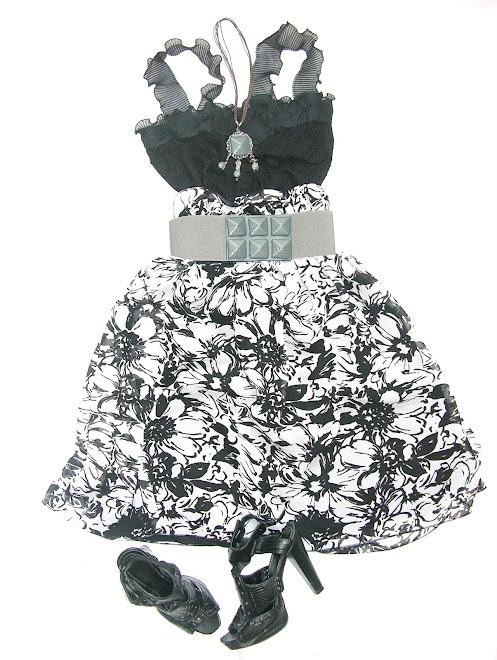 rochie casual-eleganta alb negru