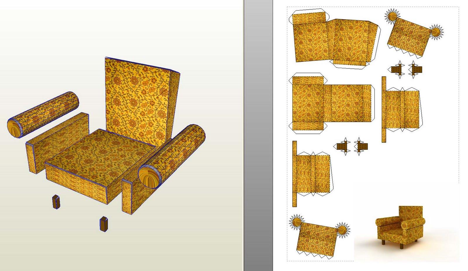 Мебель из картона для кукол 4