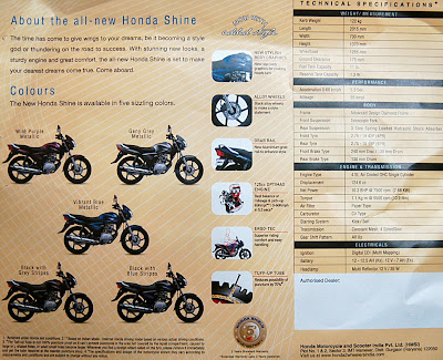 Honda Shine Brochure rear