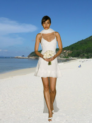 Sexy short sheath beach wedding gown
