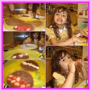Panquecas recheadas de Nutella e frutas