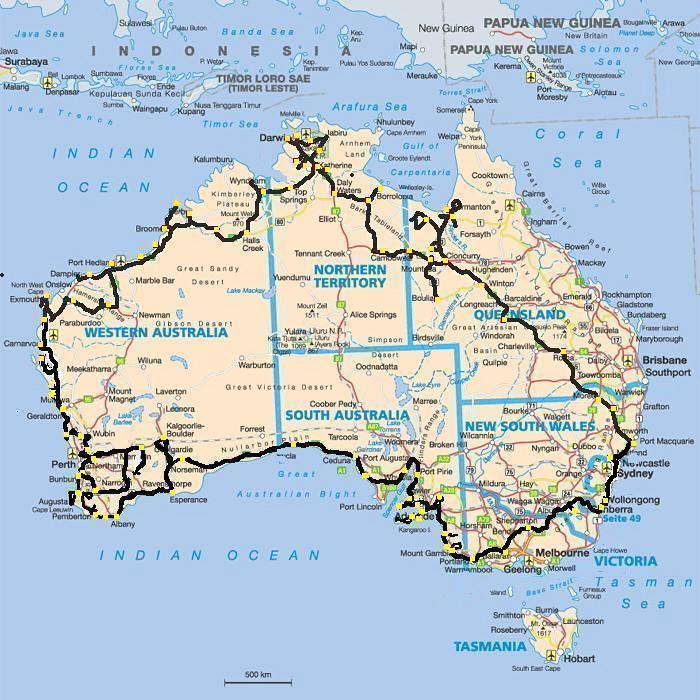 around australia map