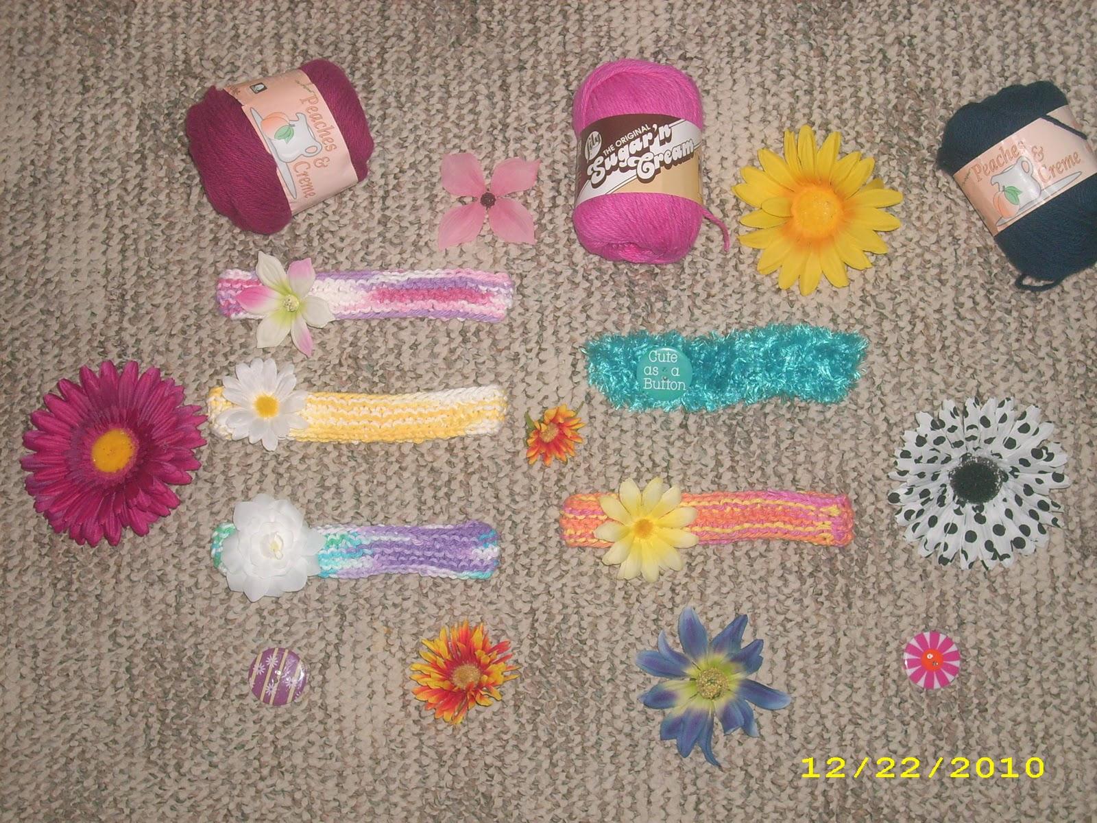 Knitting Patterns: Flower Baby Headbands